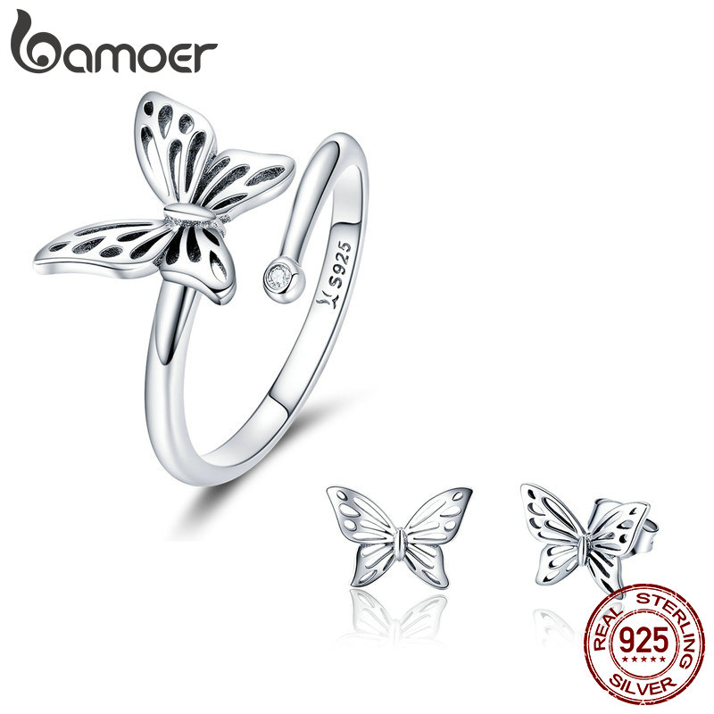 BAMOER Authentic 925 Sterling Silver Jewelry Set Vintage Butterfly Rings & Earrings Jewelry Sets Wedding Engagement Jewelry mariposa en plata anillo