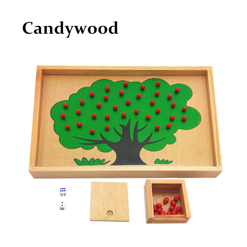 Монтессори Материал деревянный яблоня подсчета Apple игры игрушки детские развивающие Игрушечные лошадки детское Тренировки Мозга обучения ...