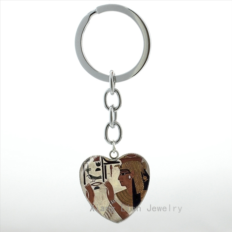 Antique brown Egyptian Goddess anime photo keychain glass dome royal jewelry heart pendant key chain ring Egypt keyring HP446
