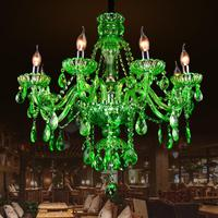 Bar 6 8 Arms Antique Green Lustre Mano Glass Chandelier Pendant Crystal Lamp Cafe Restaurant Dining