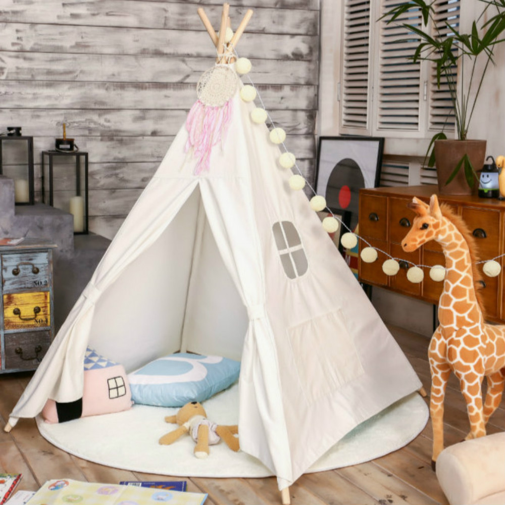 Love Tree Four Poles Children Teepees Kids Play Tent Cotton Canvas Teepee White Playhouse for Baby Room Tipi toy tent children tent five wooden poles indian play teepees kids tipi cotton canvas teepee white play house for baby room