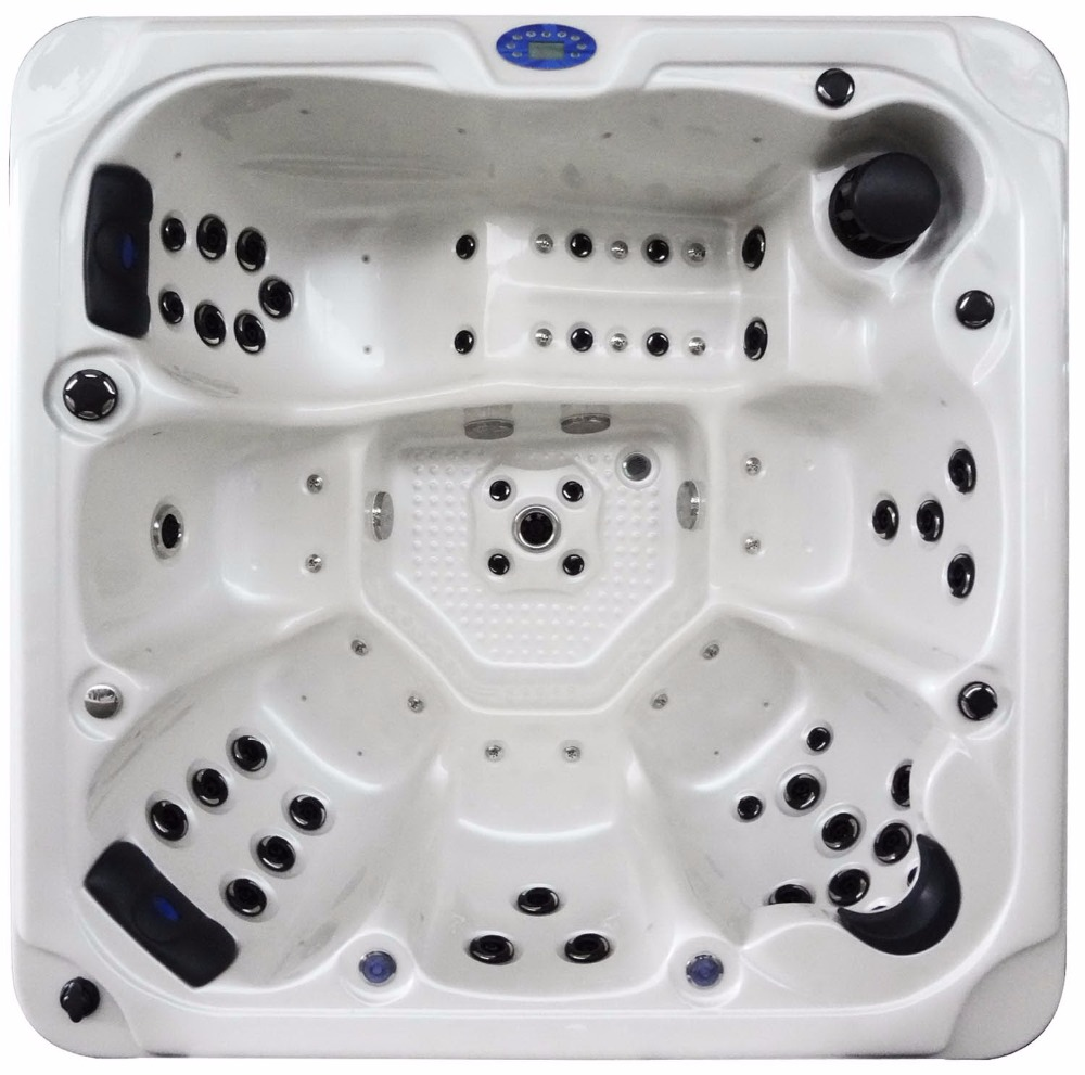 1802 Outdoor spa bath whirlpool bathtub for 6 person with 1 lounger