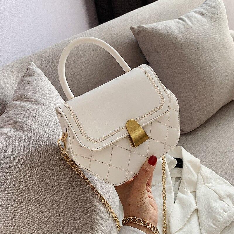 2019 New Women's Shoulder Messenger Bag Summer Popular Women's Bag Hexagonal Texture Chain Solid Color Wild Small Bag Handbag