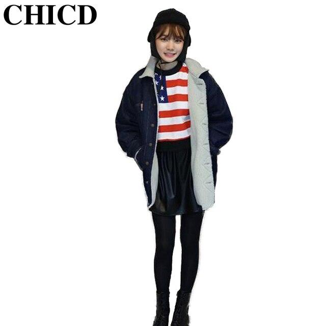 CHICD Зимы Женщин Джинсовая Куртка Жан Долго Флис Мода Дизайн Кнопки Тонкий И Пиджаки Зимняя Куртка Женщины Плюс Размер 2XL XC227