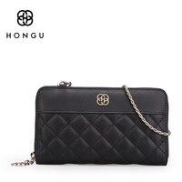 Hongu Diamond Plaid Genuine Leather Wallet Female Women Wallets And Purses Clutch Mini Crossbody Bag Phone