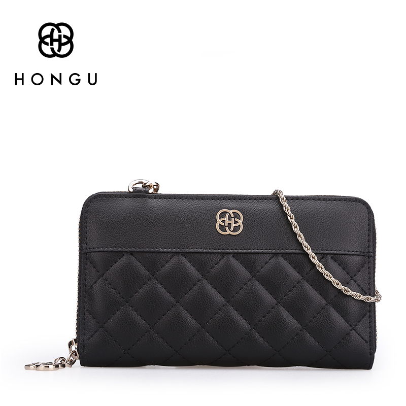 Hongu Diamond Plaid Genuine Leather Wallet Female Women Wallets And Purses Clutch&Mini Crossbody Bag Phone Bag Case Famous Brand free shipping new women s wallet cowhide genuine leather wallet for women famous brand wallet plaid shape hot cute women purses