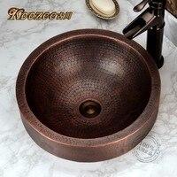 European retro purple semi embedded platform basin bronze round wash basin bathroom sink