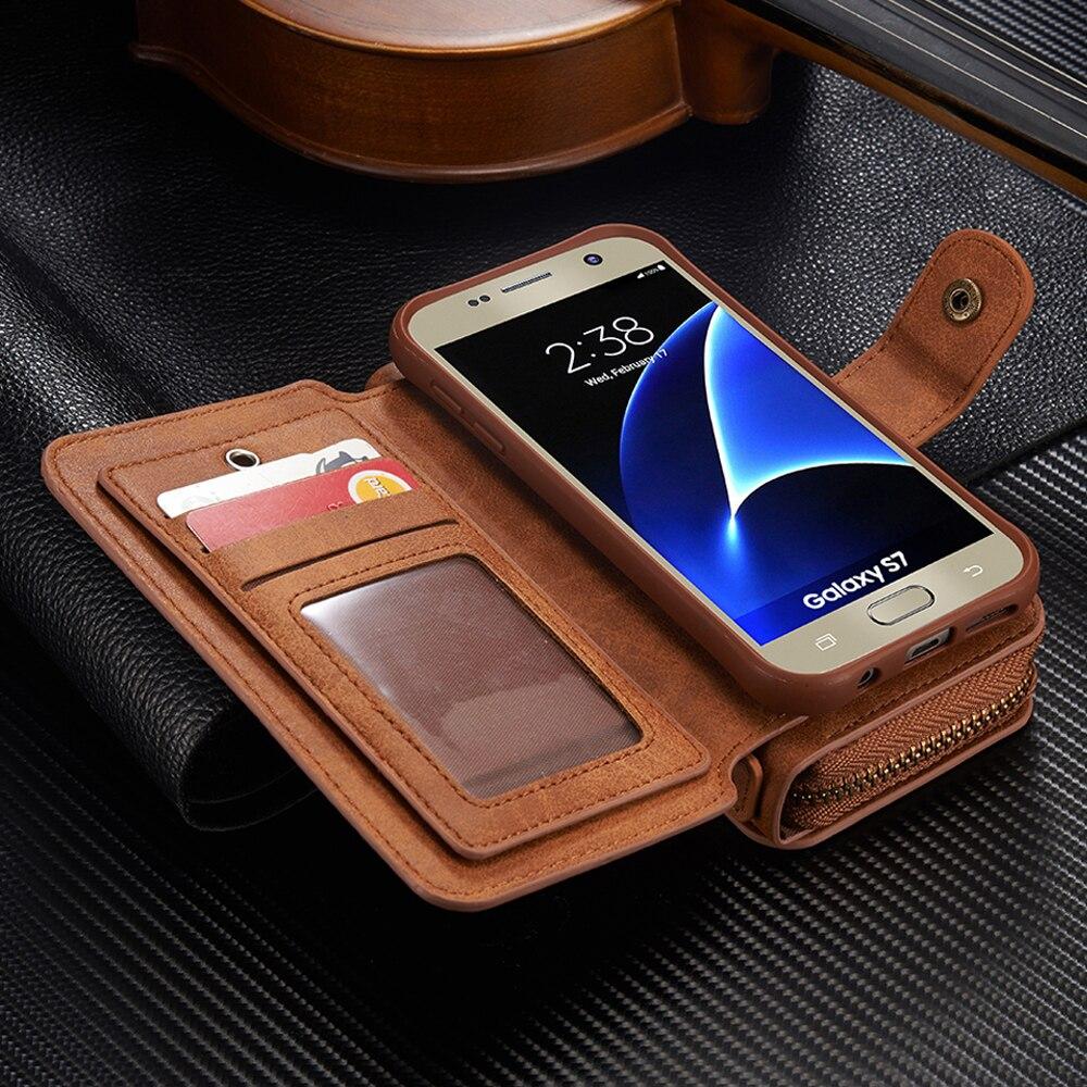 imágenes para Extraíble con cremallera Monedero Magnético Bolsa Estuche de Cuero Para el iphone 7 6 6 S más Samsung Galaxy Plus Borde Nota 4/5 S4 S5 S6 S7 S8