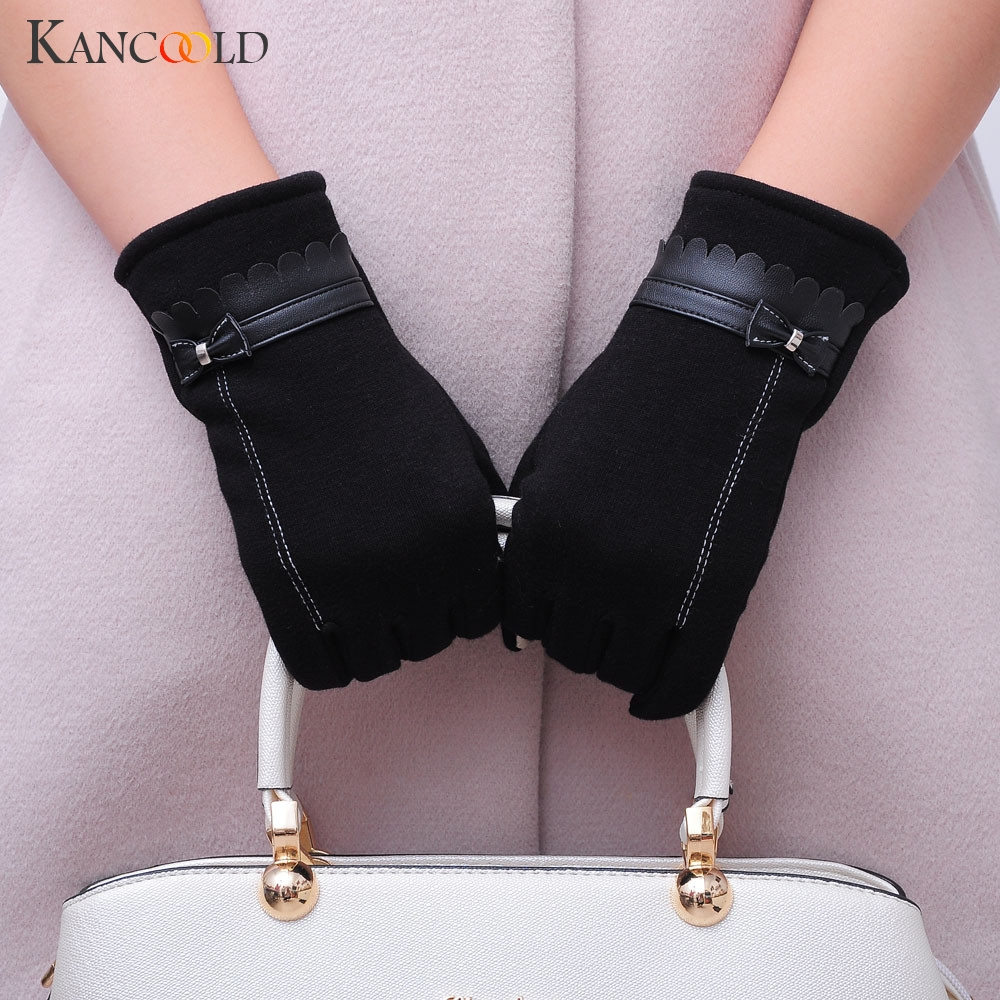 KANCOOLD Gloves Fashion Korean Version Women Bowknot Winter Warm Gloves Mittens High Quality Cotton Gloves Women 2018NOV23