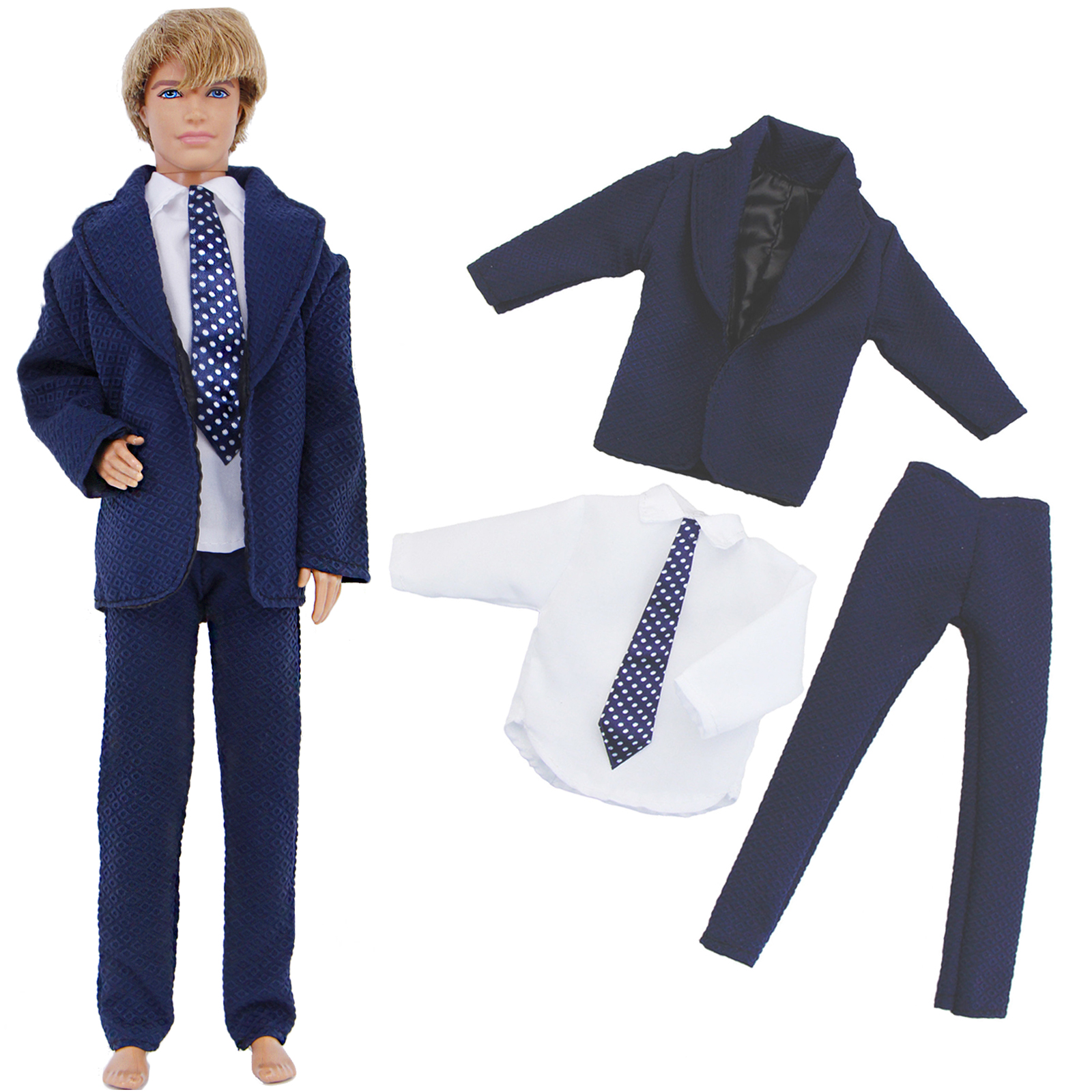 Handmade Dark Blue Outfit Formal Business Suit White Shirt Pants Tuxedo Clothes For Barbie Doll Ken Wedding Accessories Toy