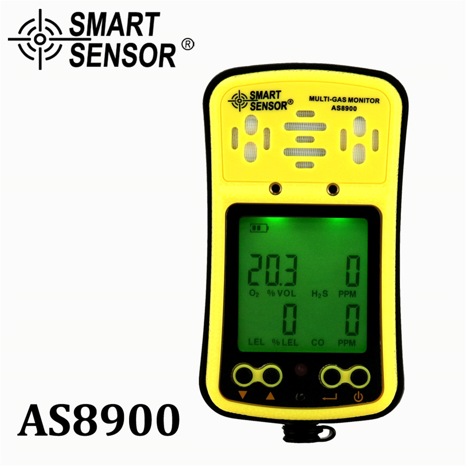 AS8900 Multi Gas Monitor Handheld gas detector Oxygen O2 Hydrothion H2S Carbon Monoxide CO Combustible Gas 4 in 1 gas analyzer digital gas detector 4 in 1 o2 h2s co lel handheld mini gas analyzer air monitor gas leak tester carbon monoxide meter