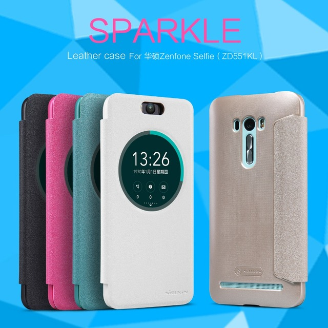 pretty nice 5181b 55ad2 US $8.5 |NILLKIN For Asus Zenfone Selfie (ZD551KL) Sparkle Series View  Window Flip Cover Case Zenfone Selfie Leather Case Smart Wake/Up on ...