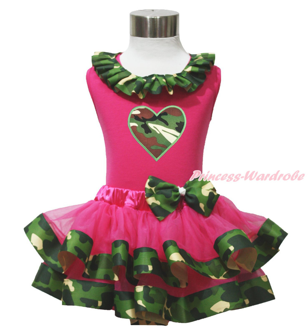 Hot Pink Top Shirt Camouflage Heart Satin Trim Girl Skirt Cloth Outfit Set NB-8Y MAPSA0643 hot pink top shirt camouflage lacing satin trim girl pettiskirt outfit set nb 8y mapsa0642