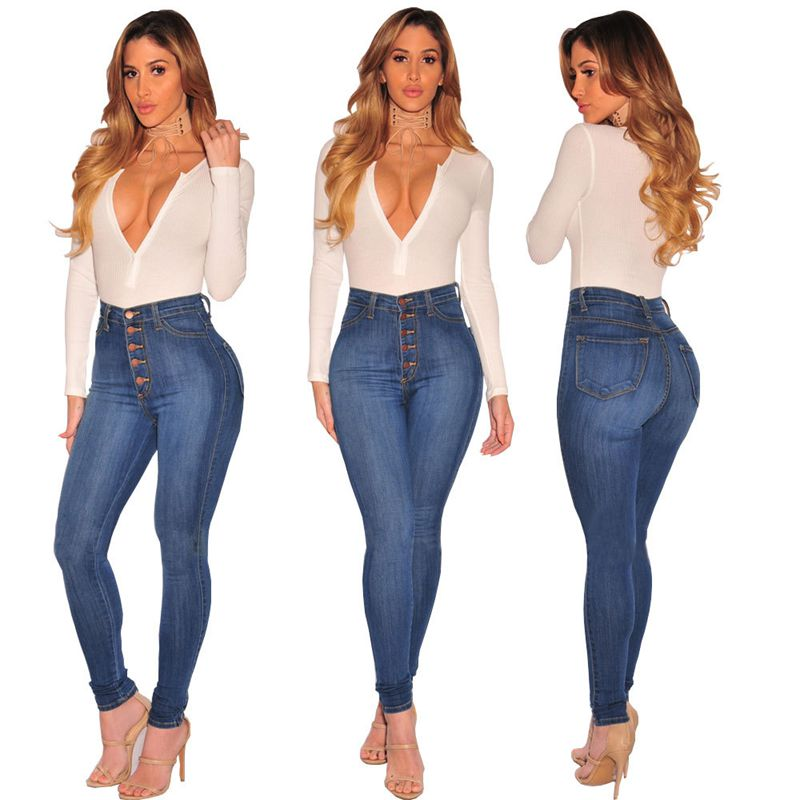 2018Jeans for Women Push Up   Jeans   Plus Size Skinny Button High Waist   Jeans   High Stretchy   Jean   Slim Femme Blue Trousers for Women