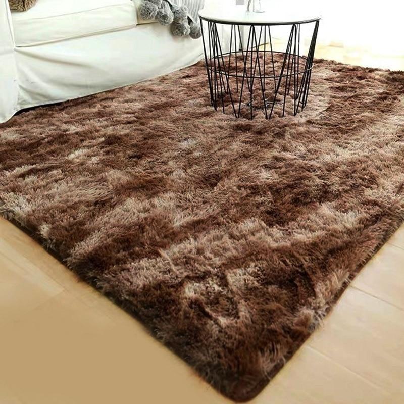 Tapis de zone de canapé teinté multicolore tapis moelleux maison tapis anti-dérapant chambre tapis de sol