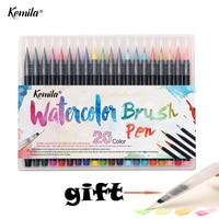 Kemila 20 Color Watercolor Markers Pen Painting Soft Brush Pen Set Effect Best For Coloring Books
