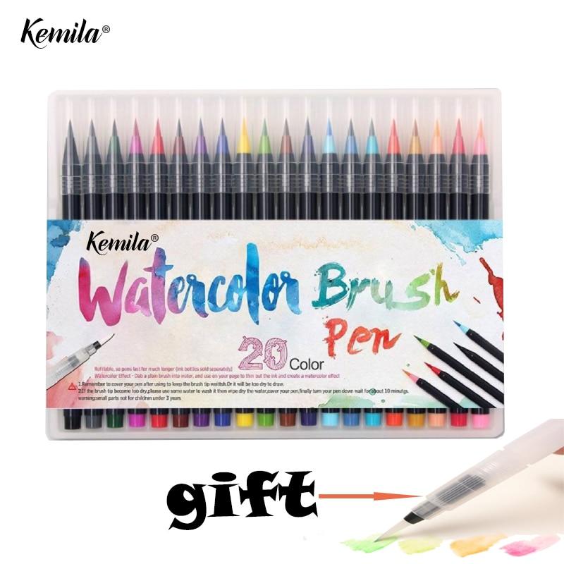 っKemila 20 acuarela marcadores pintura pluma cepillo suave pluma ...
