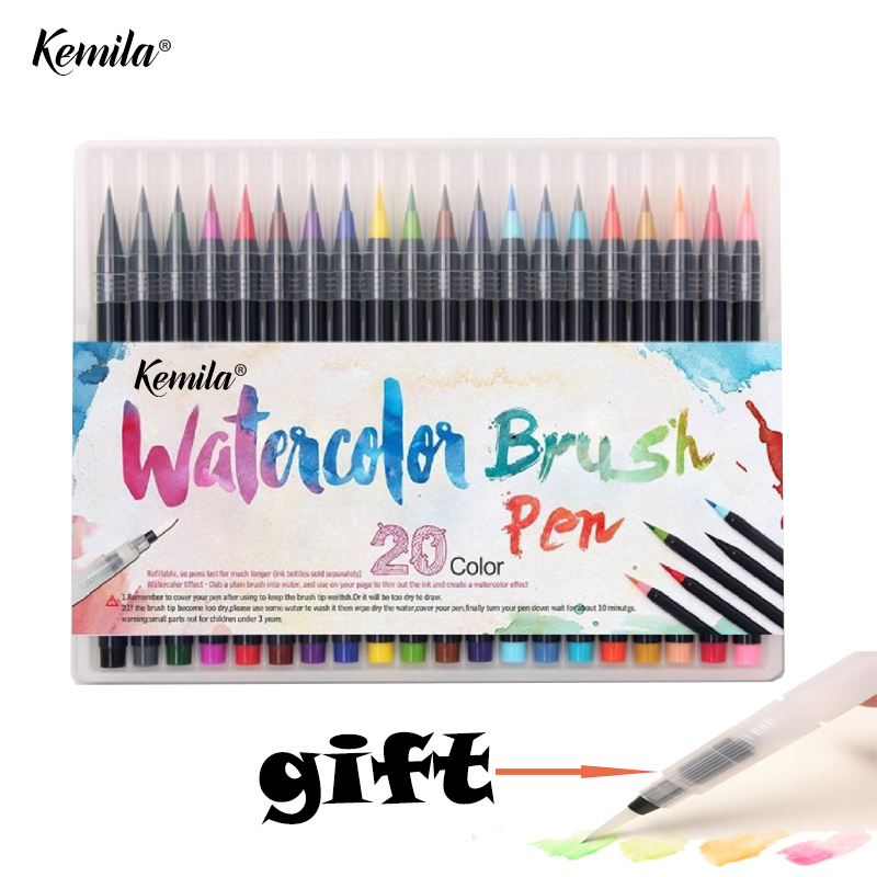 kemila 20 Color Watercolor Markers Pen Painting Soft Brush Pen Set Effect Best For Coloring Books Manga Comic Calligraphy 20 color painting soft brush pen set watercolor markers pen effect best for coloring books student art painting supplies