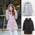2016 Плюс размер женская мода мило с капюшоном ватные пальто длинный теплая зима хлопка мягкой одежда женский пальто проложенный куртка 4XL