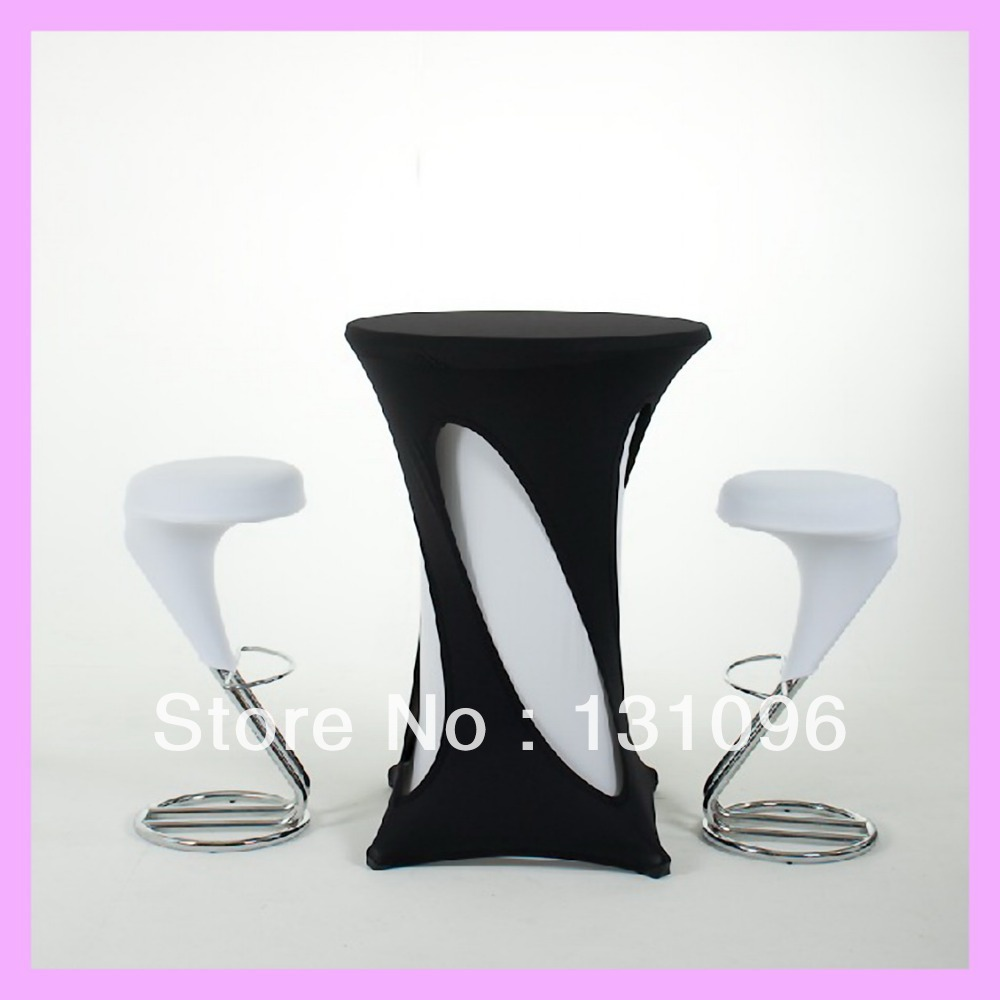 10pcs Top Quality Black Hollow Lycra Cocktail Table Cover ,Lycra Dry Bar Cover Wedding Events &Party Decoration