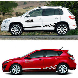 Image 2 - 45CM * 15CM 1 Paar WRC Auto aufkleber BK KK Reflektierende Splitter Material 1 Paar Gird Muster Auto fahrzeug Körper Dekoration Aufkleber