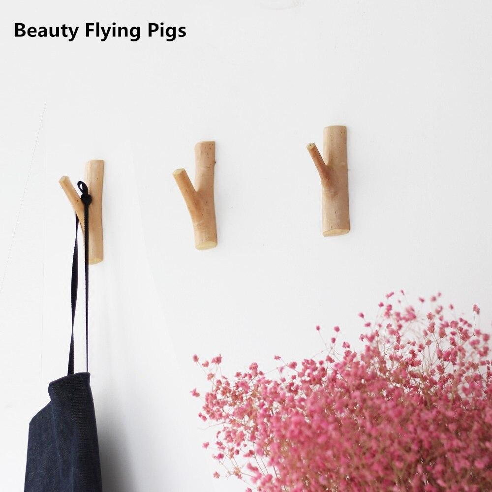 الحور هوك الخشب حمالة تعليق جدارية الإبداعية الرعوية البساطة الخشب معطف رف شماعات جدارية محافظ nastennaya محافظ جدار السنانير