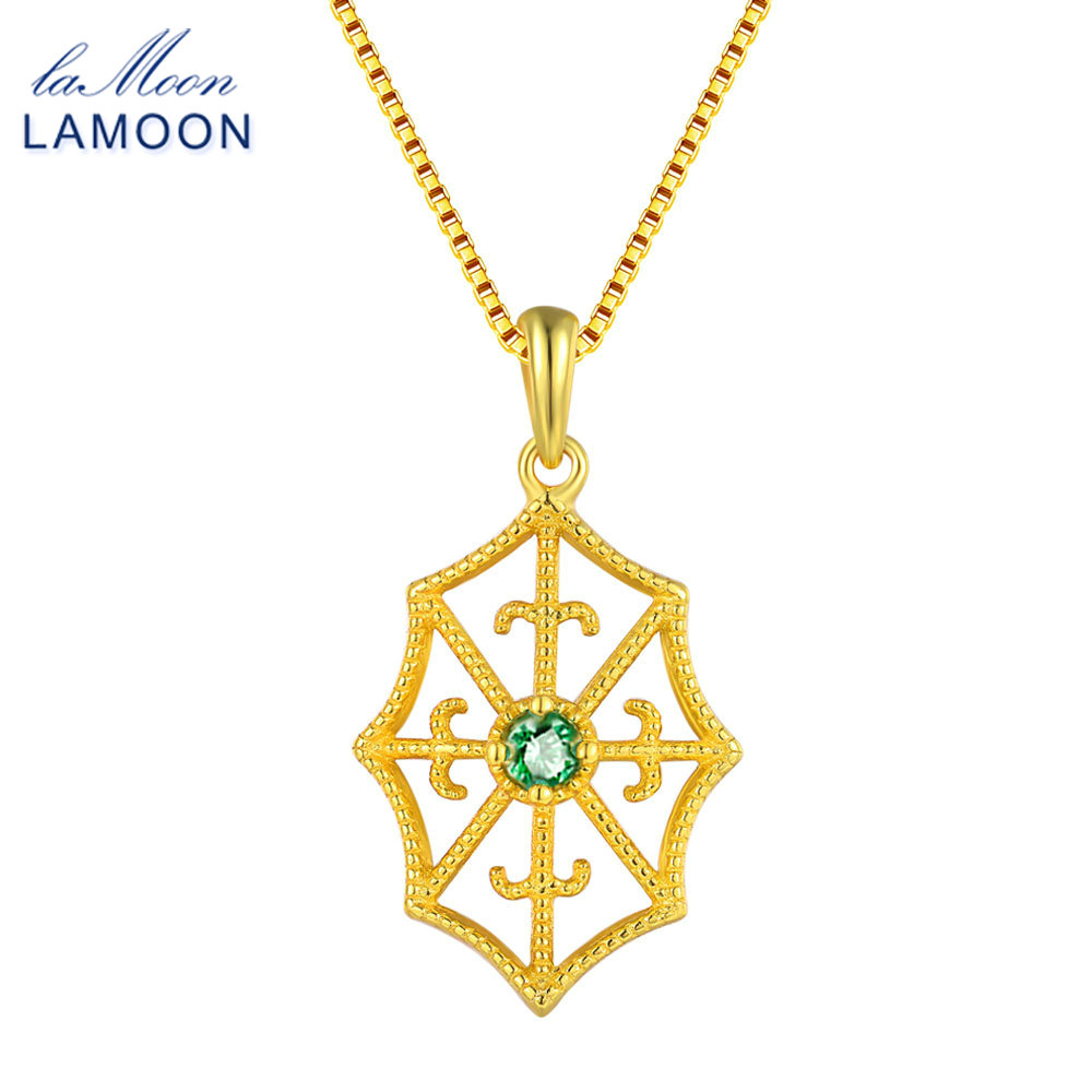 LAMOON Green Emerald Necklaces for Women Spider Web 2.5mm 925 Sterling Silver Fine Jewelry Chain Pendant Necklace S925 NI035