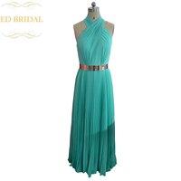 תמונה מדגם אמיתית הלטר גבוה צוואר גב פתוח מנטה ירוקה שיפון שמלות נשף ללא משענת שמלת הערב עם חגורת מתכת זהב