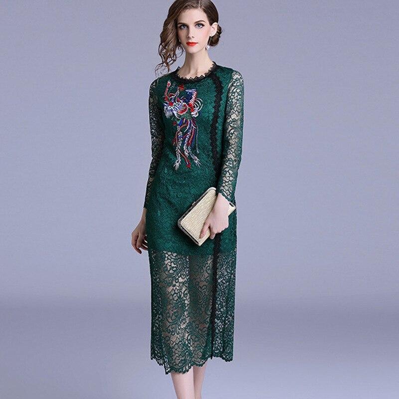 2019 été femmes robe verte élégante femelle Phoenix broderie o-cou à manches longues mode évider dentelle robe