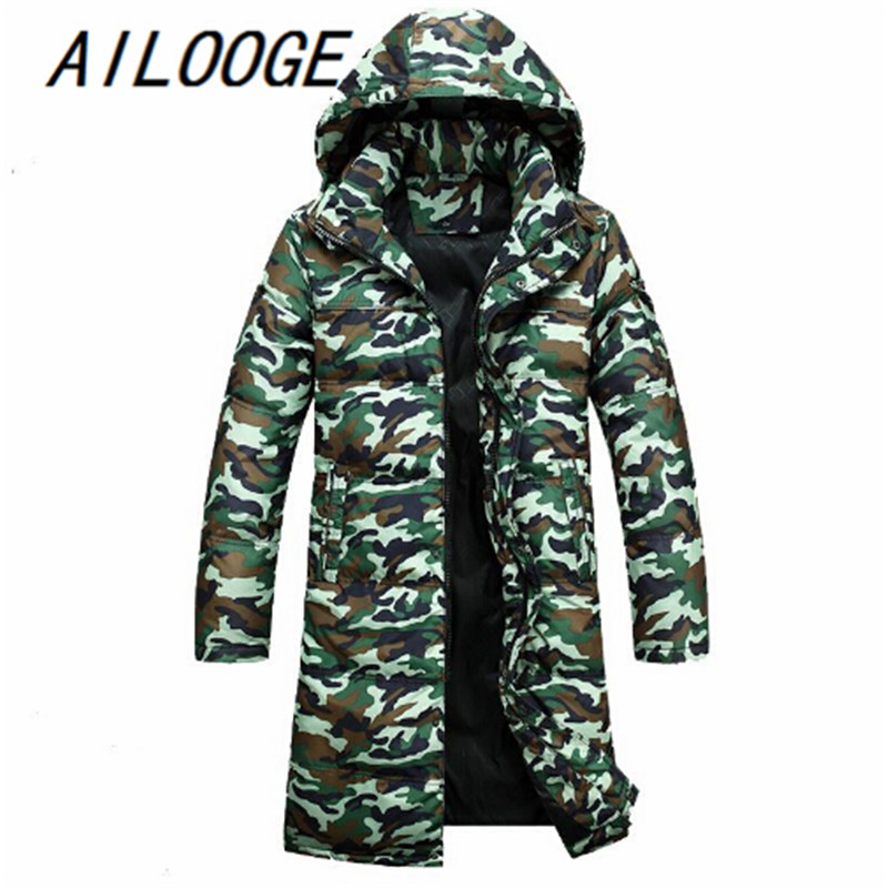 New Arrivals male fashionable casual thickening down coat Camouflage down Jacket Long Winter parka coat for men Big size 4XL