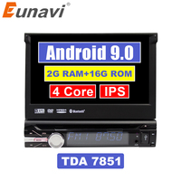 Eunavi Universal 1 din 7'' Android 9.0 car radio dvd player stereo Quad core 1din gps navigation stereo bluetooth wifi rds usb