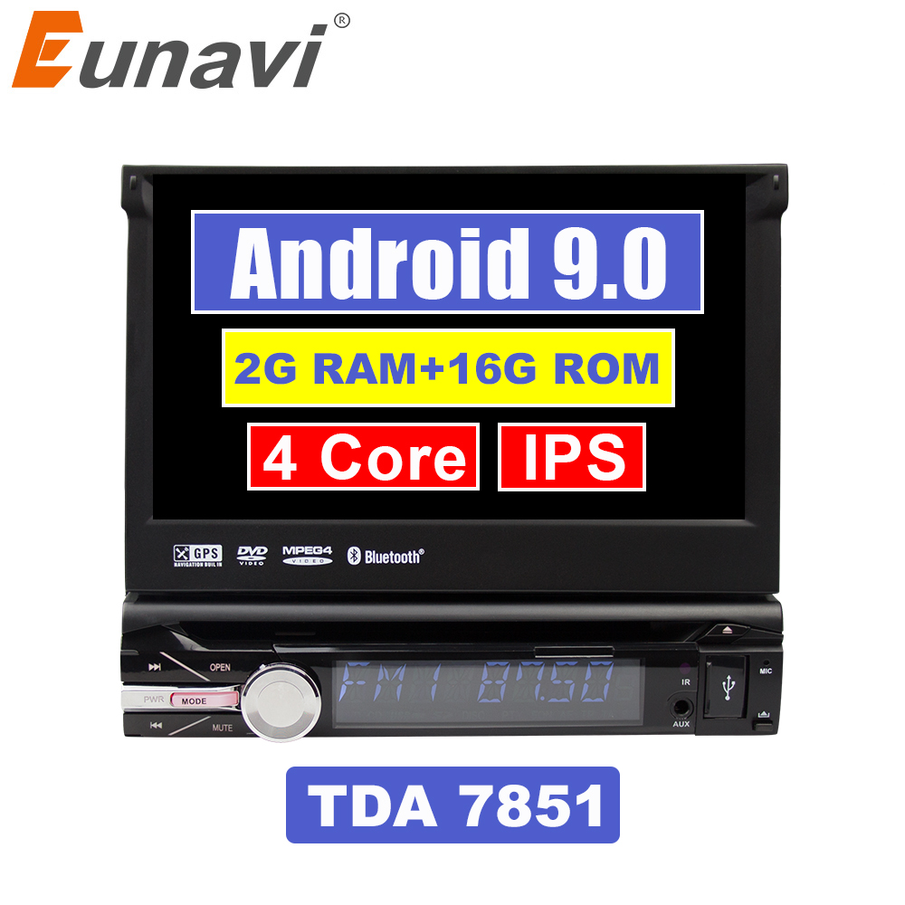 Eunavi Universal One 1 din 7'' Android 9.0 Quad Core Car DVD player with GPS Wifi BT Radio Stereo Steering wheel control RDS