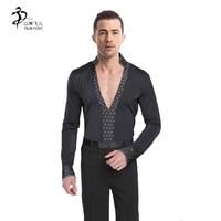 Men Dance Shirt Latin Ballroom Dance Tops Men Dance Costumes Boy Dance Leotards For Man