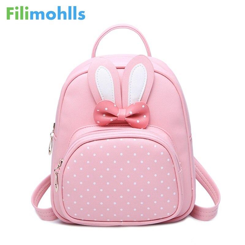 Bunny Cute Backpack Women Leather Polka Dot Bow Back Bag Pink School Bags Mini Small Backpacks For Teenage Girls Mochila S1242