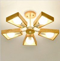 Solid wood wheel fan chandelier living room dining room study balcony Scandinavian solid log simple LED chandelie