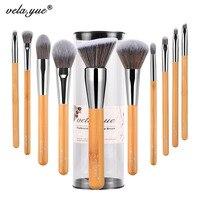 Vela Yue Makeup Brushes Set 10 Pieces Vegan Face Cheek Eyes Lips Beauty Tools Kit With