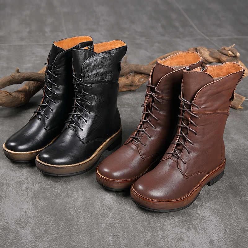 Artdiya Ursprüngliche Beiläufige Handgemachten frauen Schuhe Retro Martin Stiefel Runde Kappe Zipper Rindsleder Warme Stiefel Winter und Herbst Stiefel