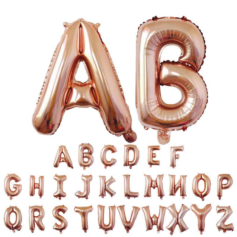 32 インチ 16 インチローズゴールド手紙風船誕生日パーティーウェディングデコレーションウェディングアルファベットバルーン記念パーティーの空気グロボス