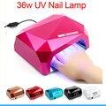 36 W Auto LED UV Lámpara UV Secador de Uñas LLEVADO Luz DEL SOL 365-405nm Lámpara de uñas de Diamante En Forma de Curar Gel ULTRAVIOLETA Del Clavo Del Polaco Del Arte Del Clavo herramienta