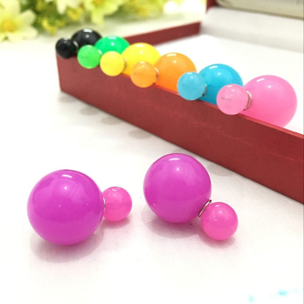 2017 New Arrival Cute Candy Color Double Ball Earrings For Women 4ED150