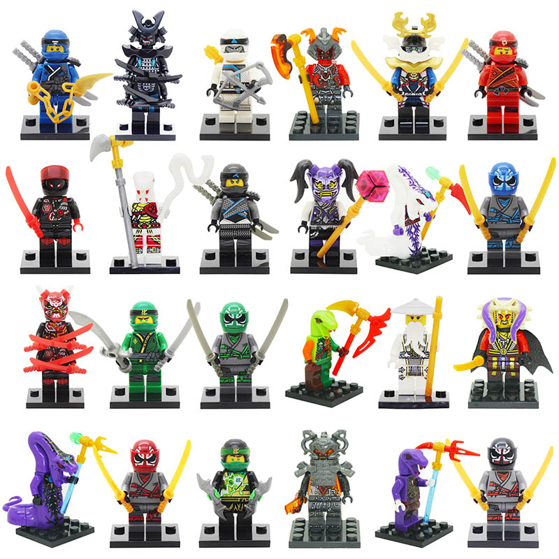 Single Sale Action Figure Toys Red Kaijie Mask Hatred Samurai Purple Mask Mr Weapons Ninjagoes Figure Blocks Toys For Children