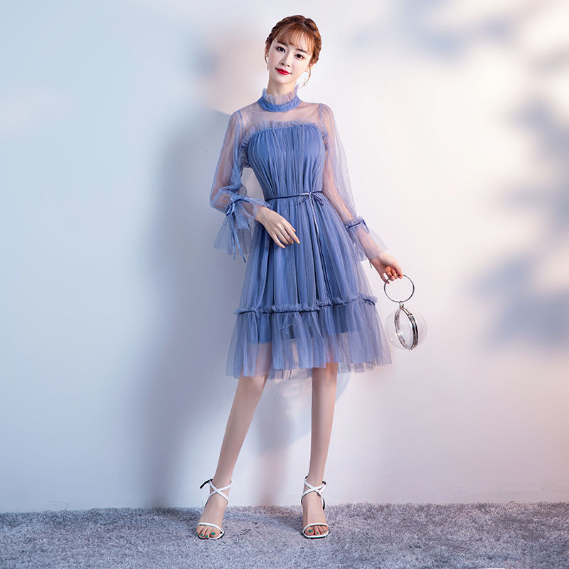 Blue Elegant Dress Women For Wedding Party Sexy Elegant Long Sleeve Ladies Loose Casual Bow Princess Illusion Prom Vestidos
