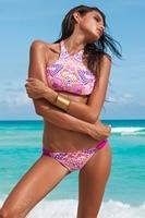2017 new hot neon couleur sexy triangle col haut bikinis set femmes maillots de bain plage Sport Débardeur maillot de bain maillot de bain natation