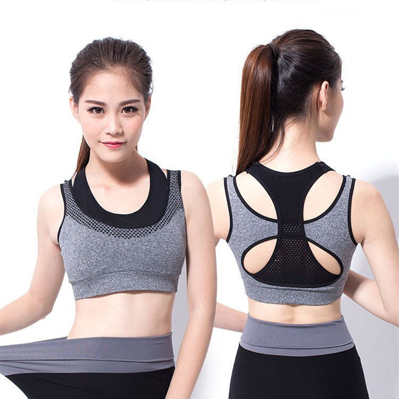 HOT Seamless Push Up Padded Wirefree Professional Running Vest High Impact Racerback Double Layler Yoga font