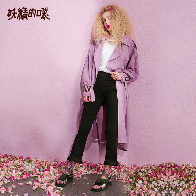 ELF SACK New Casual Trench Woman Solid Turn-down Collar Full Women Trench Coat Double Breasted Oversized Streetwear Femme Trench 1