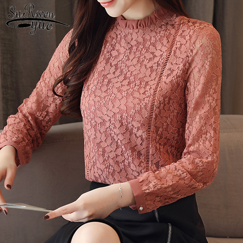 Blouses Woman 2019 Autumn Solid Lace Blouse Women Shirts Long Sleeve Women Blouse Top Female Womens Tops And Blouses 1363 45