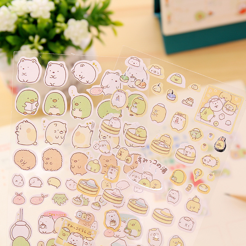 48 pcs/Lot Sumikko gurashi paper stickers Cute bear penguin cat Decorative adhesive for diary letter scrapbook Stationery F142