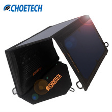 19W Solar Charger CHOE Waterproof Foldable Outdoor Solar Panel Battery USB Charger with Auto Detect Tech For iPhone 8 7 7 Plus