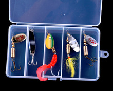 HENGJIA 5pcs in one box Mixed Fishing Lures Set Kit Metal Lures for Trout Perch Bass Fishing Spoons Hard Baits spinner bait