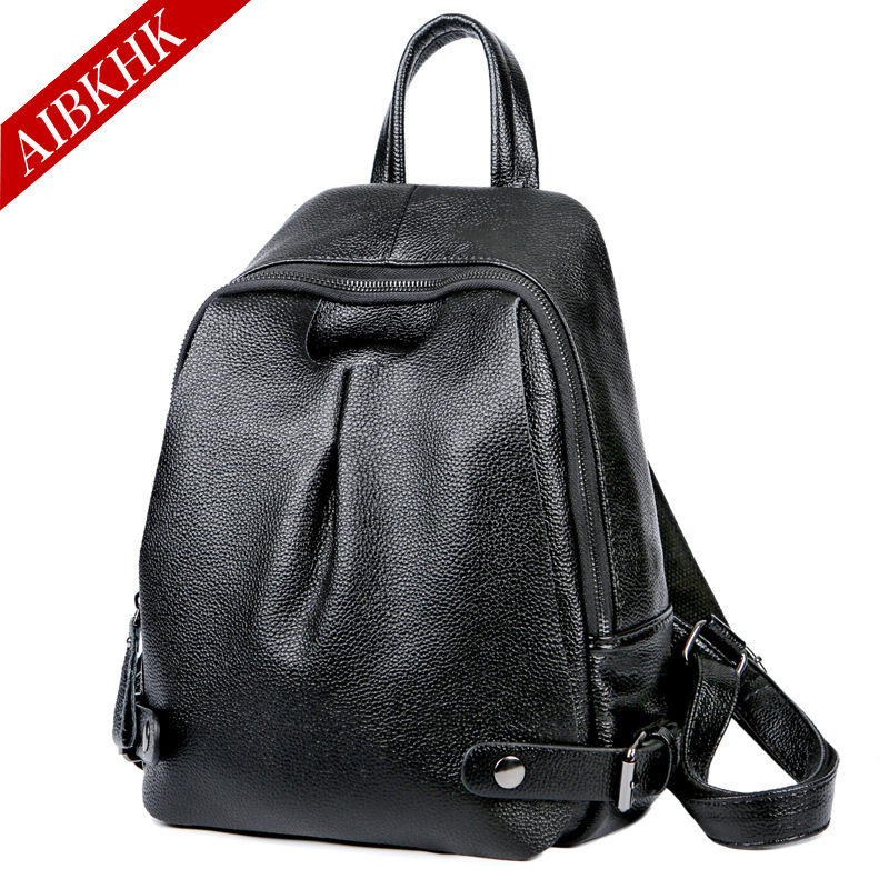 AIBKHK Japan and Korean Style Genuine Leather Women Backpack Vintage School Backpack For Girls Brand Designer